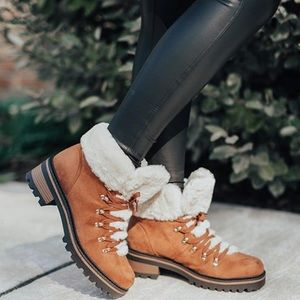 Faux Fur Winter Lace Up Booties